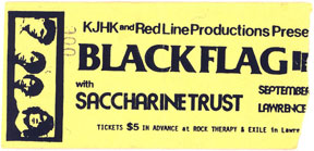 Black Flag, Saccharine Trust, Tom Troccoli's Dog Ticket Stub