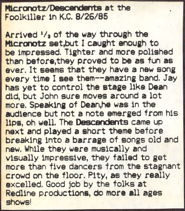 Descendents: Live At The Foolkiller in KC, MO 08-26-85 | Oxide Flake