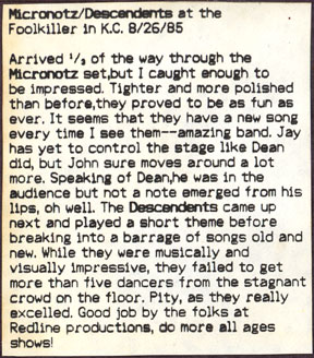 Descendents show review from Room 101 #8